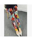 CUHAKCI drukowanie leginsy Plus rozmiar Legging wysokiej jakości Legging damskie spodnie do fitnessu elastyczność kwiatowe leggi