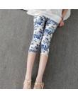 CUHAKCI spodnie z nadrukiem damskie wysokiej jakości Capris z wysokim stanem kwiatowe damskie legginsy Fitness siódme elastyczne