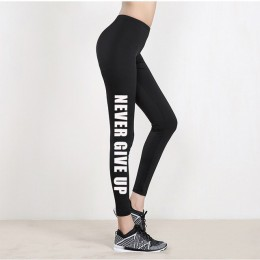 2019 kobiet legginsy nigdy nie poddawaj się drukowanie Legging wiosna legginsy fitness Legins Jogging Activewear Femme Mujer spo