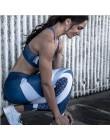 Damska niebieska w stylu casual legginsy Skinny elastyczna siła sportowa moda poliester Fitness legginsy