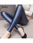 Jielur nowe zimowe polarowe matowe PU skórzane legginsy damskie modne nity Push Up ołówkowe spodnie 4 kolory S-XXXL dla szczupłe