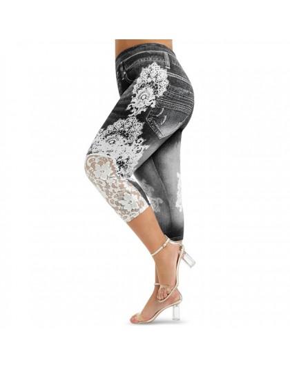 ROSEGAL Plus rozmiar Capri koronkowy panel legginsy z nadrukiem Push Up 3D elastyczny, wysoki stan kobiet obcisłe spodnie fitnes