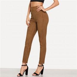 SHEIN Brown eleganckie biuro Lady jednokolorowa zamszowa Skinny legginsy 2018 jesień Highstreet odzież robocza spodnie damskie s