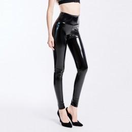 YGYEEG Plus Size legginsy skórzane legginsy kobiety wysokiej talii czarne Legging PU skórzane Legging moda spodnie skórzane dams