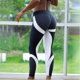 Najnowsze popularne geometryczne spodnie z nadrukiem o strukturze plastra miodu yo-ga legginsy sportowe spodnie Fitness wysokie
