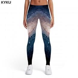 KYKU Galaxy legginsy damskie niebieskie sportowe przestrzeń damska Harajuku elastan gotyckie seksowne damskie leginsy Fitness mo