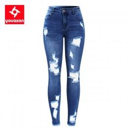 2127 Youaxon nowe S-XXXXXL Ultra rozciągliwe niebieskie frędzle porwane jeansy damskie denimowe spodnie spodnie dla kobiet ołówk