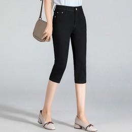 GAREMAY Plus Size Skinny dżinsy capri kobieta kobiece spodnie Stretch do kolan spodnie jeansowe damskie z wysokim stanem lato