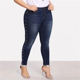 COLROVIE Plus rozmiar niebieskie perły koraliki dorywczo dżinsy kobieta jesień portmonetka vintage dopasowane dżinsy damskie spo