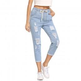 SHEIN damskie spodnie na lato spodnie typu casual dla pań niebieska z rozcięciami w połowie wiązanie w pasie Skinny Denim Jeans