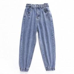 Oversize wysokiej talii dżinsy elastyczne luźne koreańskie dżinsy kobiet chłopaka spodnie kobiet plus size ponadgabarytowych dżi