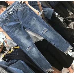 Kobiety Denim spodnie Skinny fit porwane dżinsy dla kobiet otwór w stylu Vintage ołówek spodnie wysoka elastyczność spodnie ze s