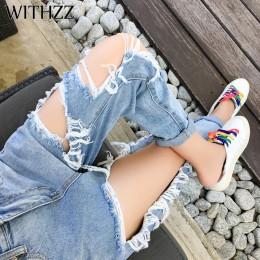 WITHZZ New Arrival 5XL porwane jeansy damskie luźna cienka dżinsy damskie spodnie bryczesy kombinezony Vintage kobiece rozdarte