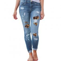 LASPERAL kobiety Plus rozmiar wysokiej talii obcisłe dżinsy rurki solidny wzór lamparta, patchworkowa nieregularne prążkowane ot