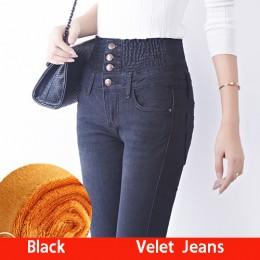 Tataria jesienne zimowe jeansy damskie wysokiej talii obcisłe ciepłe grube dżinsy damskie wysokie elastyczne Plus Size jeansy ze